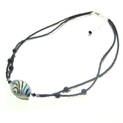 Murano Glass Black Double Strand Striped Bead Silver Necklace