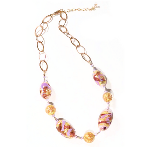 Murano Glass Lilac Purple Oval Beaded Gold Necklace - JKC Murano