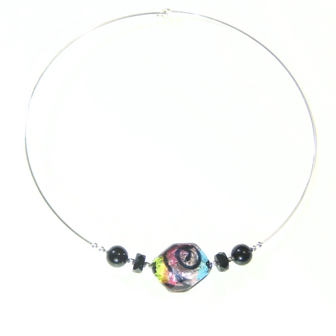 Murano Glass Colorful Pebble Choker Silver Necklace - JKC Murano