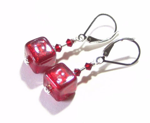 Murano Glass Red Cube Sterling Silver Earrings, Clip On Earrings Available - JKC Murano