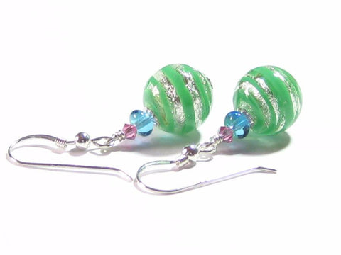 Murano Glass Pale Green Striped Ball Silver Earrings, Fishhook Earrings JKC Murano