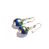 Murano Glass Aqua Cobalt Blue Disc Gold Earrings, Fishhook Earrings