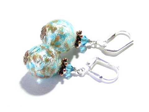 Murano Glass Aqua White Gold Copper Silver Earrings, Leverback Earrings - JKC Murano - 1