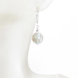 Murano Glass Aquamarine Copper Ball Silver Earrings JKC Murano