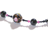 Murano Glass Black Pink Curved Tube Sterling Silver Necklace - JKC Murano