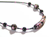 Murano Glass Black Pink Curved Tube Sterling Silver Necklace JKC Murano