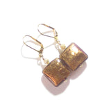 Murano Glass Brown Square Gold Earrings, Italian Glass Jewelry JKC Murano