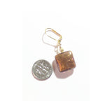 Murano Glass Brown Square Gold Earrings - JKC Murano