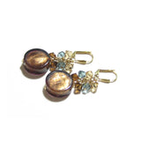 Murano Glass Brown Coin Crystal Cluster Gold Earrings JKC Murano