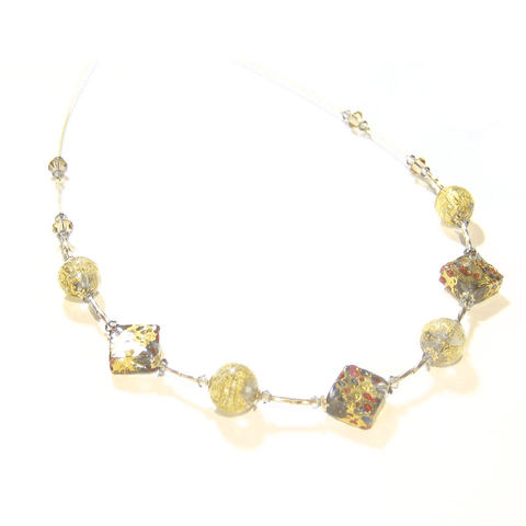 Murano Glass Colorful Diamond Gold Necklace JKC Murano
