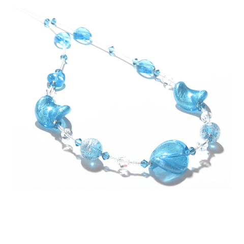 Murano Glass Aqua Twist Silver Necklace JKC Murano