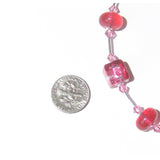Murano Glass Pink Cube Sterling Silver Necklace - JKC Murano