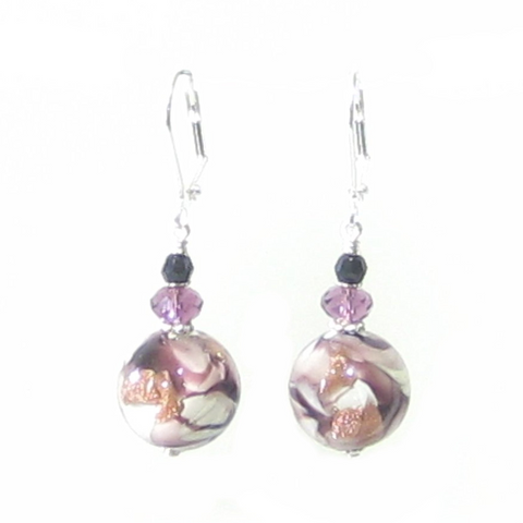 Murano Glass Purple White Swirl Ball Sterling Silver Earrings - JKC Murano