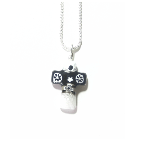 Murano Glass Black White Millefiori Cross Pendant - JKC Murano