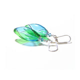 Murano Blown Glass Argyle Aqua Green Long Oval Earrings JKC Murano