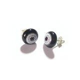 Murano Glass Large Millefiori Red Star Black Sterling Silver Post Stud Earrings JKC Murano