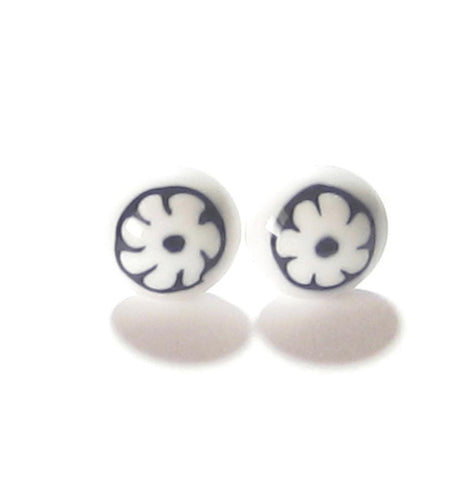 Murano Glass Black White Millefiori Flower Post Earrings, Stud JKC Murano