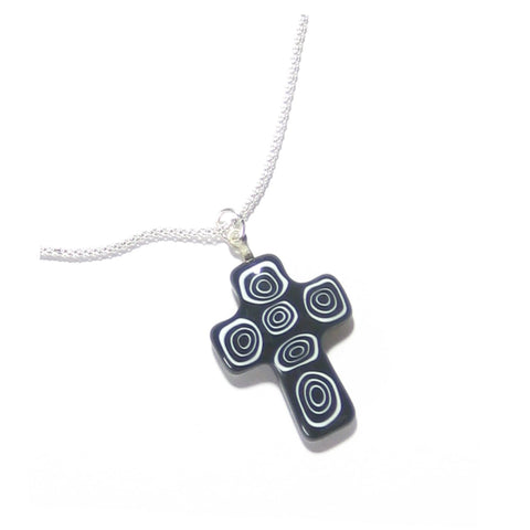 Murano Glass Black White Circle Cross Pendant, Sterling Silver Chain JKC Murano