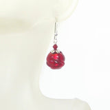 Murano Glass Red Chunky Twist Ball Silver Earrings - JKC Murano