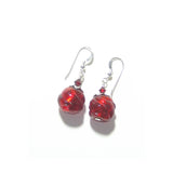 Murano Glass Red Chunky Twist Ball Silver Earrings JKC Murano
