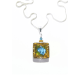 Murano Glass Topaz Aqua Square Pendant Sterling Silver Necklace Murano Glass Topaz Aqua Square Pendant Necklace JKC Murano