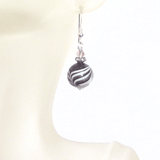Murano Glass Black Copper Ball Silver Earrings,  Zebra Print JKC Murano