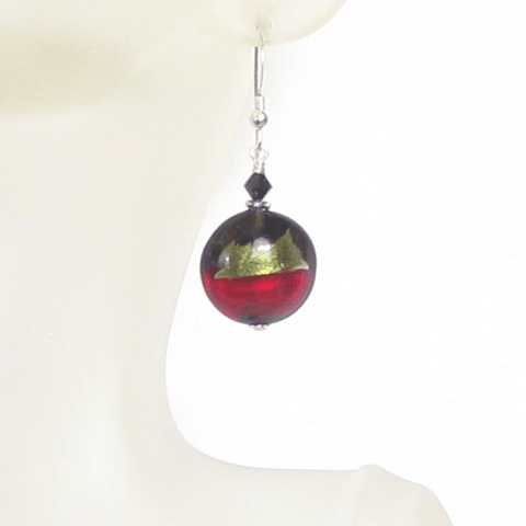 Italian Murano Glass Olive Green Red Black Silver Earrings JKC Murano