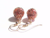 Venetian Glass Coral Gold Earrings, Leverback Earrings, Murano Glass Jewelry JKC Murano