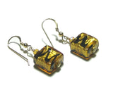 Murano Glass Topaz Square Gold Earrings, Italian Jewelry JKC Murano
