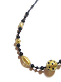 Murano Glass Chunky Ball Black Leopard Gold Necklace, Venetian jewelry JKC Murano