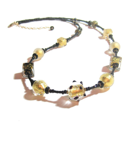 Murano Glass Black Cube Ball Long Gold Necklace, Italian Jewelry JKC Murano