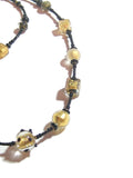 Murano Glass Black Cube Ball Long Gold Necklace, Italian Jewelry - JKC Murano