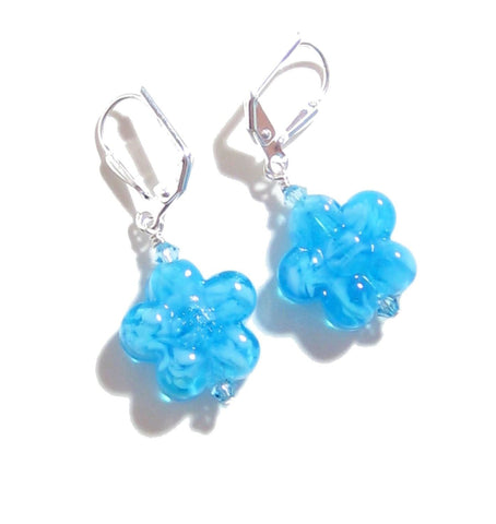 Murano Glass Aqua Flower Silver Earrings, Leverback Earrings JKC Murano