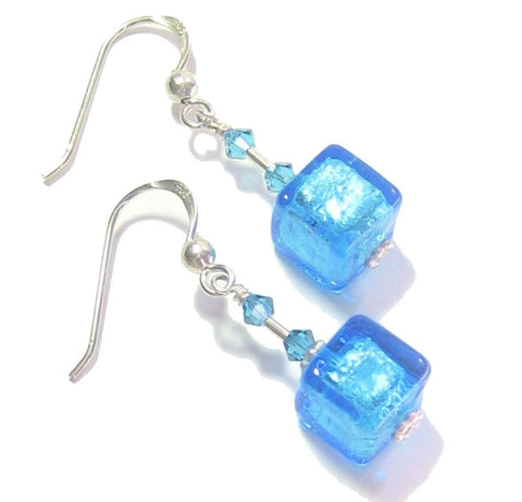 Murano Glass Aqua Cube Silver Earrings JKC Murano