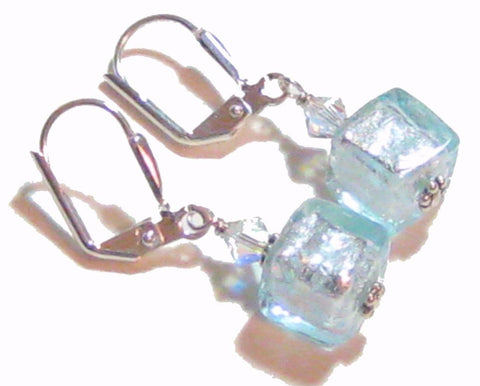 Genuine Murano Glass Aquamarine Cube Silver Earrings JKC Murano