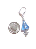 Murano Glass Blue Triangle Silver Earrings JKC Murano