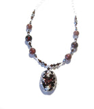 Murano Glass Brown Pendant Sterling Silver Necklace, Venetian Necklace JKC Murano