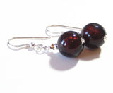 Murano Glass Dark Brown Ball Silver Earrings, Fishhook Earrings JKC Murano