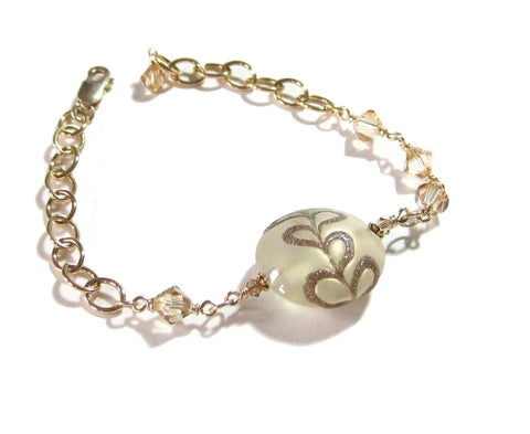 Murano Glass Gold Filled Disc Adjustable Bracelet JKC Murano