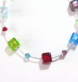 Murano Glass Colorful Cube Sterling Silver Bracelet, Custom made JKC Murano