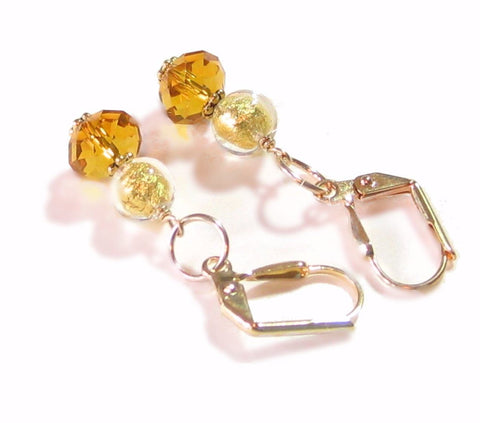 Murano Glass Clear Gold Swarovski Crystal Gold Earrings, Leverback Earrings JKC Murano