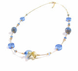 Murano Glass Blue Twist Long Gold Necklace JKC Murano