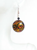 Murano Glass Topaz Black Chunky Disc Gold Earrings - JKC Murano