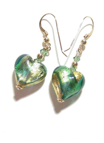 Murano Glass Aqua Green Heart Gold Earrings, Fishhook Earrings JKC Murano