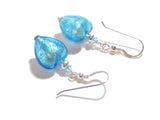 Murano Glass Aqua Heart Silver Earrings - JKC Murano