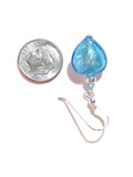 Murano Glass Aqua Heart Silver Earrings JKC Murano