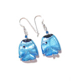 Murano Glass Fish Aqua Sterling Silver Earrings, Fishhook Earrings JKC Murano