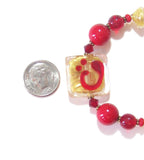 Murano Glass Red Gold Abstract Square Adjustable Bracelet JKC Murano