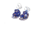 Venetian Glass Cobalt Blue Moon Silver Earrings, Italian Jewellery JKC Murano