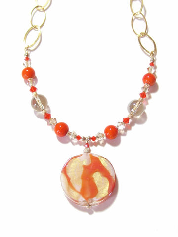 Venetian Glass Orange Pendant Gold Necklace JKC Murano
